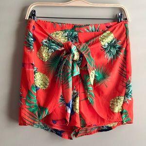 Gorgeous Tie Front Tropical Shorts